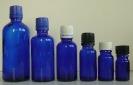 Сини стъклени шишенца (флакони) с капачки